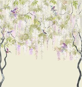 Птицы на деревьях в японском стиле