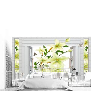 Лилия, окно и водопад