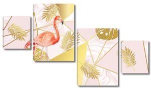 Листья пальмы с фламинго