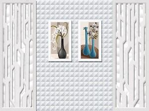 Черепичный фон, два натюрморта в белых кадрах на стене