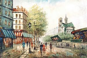 Рисунок современного живописного города
