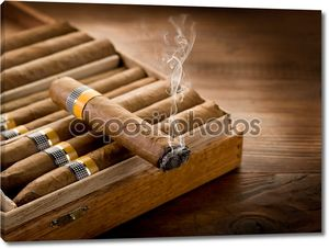 Курить кубинские сигары над полем на фоне древесины