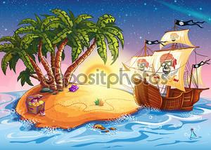 Иллюстрация Остров сокровищ и пиратский корабль