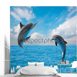 Два дельфина в воздухе