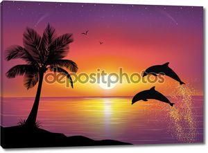 Силуэт двух дельфинов, выпрыгивая из воды в океане и силуэт пальму на переднем плане. Красивый закат и звезды на море в фоновом режиме.