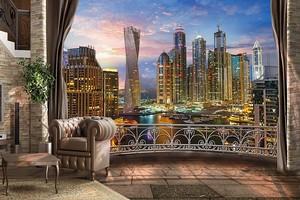 Вид с балкона на ночной город