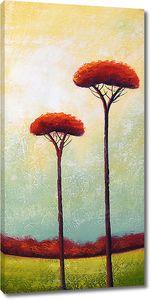 Два высоких абстрактных дерева