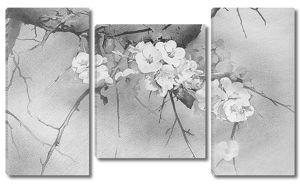 Ветка сакуры в черно-белом исполнении