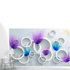 Серый фон с белыми кольцами и красочные сказочные почки