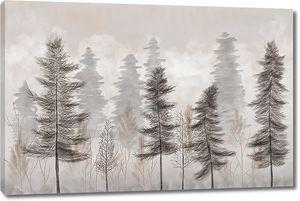 Хвойные деревья в тумане