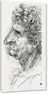 Леонардо да Винчи. Голова человека в профиль, смотрящего влево