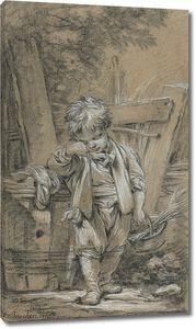 Франсуа Буше. Мальчик опирается на бочку и держит корзину
