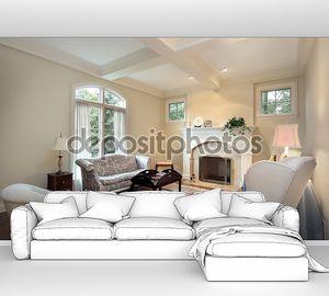 Белая комната с камином