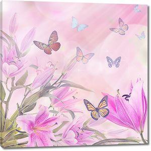 Лето, бабочки, цветы
