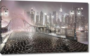 Вид на ночной город с моста