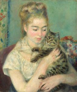 Пьер Огюст Ренуар. Женщина с кошкой. 1875