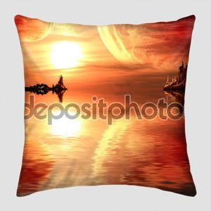 Фэнтезийный закат на другой планете