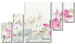 Белые и розовые лотосы