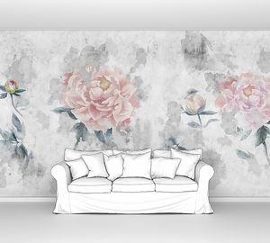 Цветы акварельных пионов на бетонной стене