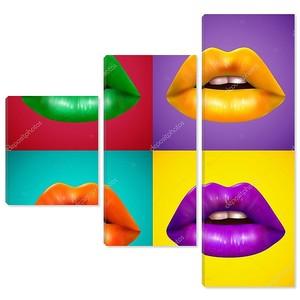 Яркие цветные губы 4 иконы плакат