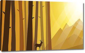 Маленький олень у высоких деревьев