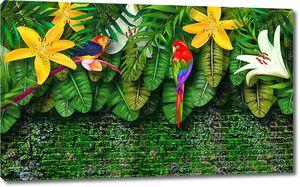 Попугай на заросшей стене