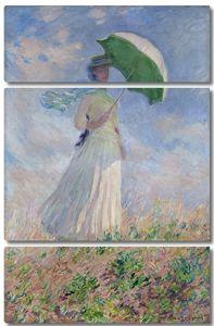 Моне Клод. Женщина с зонтиком, обращенная вправо