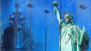 USA Armed Forces. Military aircraft and ship next to statue of liberty. Army of America. Statue of Liberty symbol of United States. Concept - military conflicts involving USA. Service in Army of USA