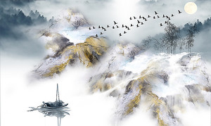 Туман опустился на горное озеро