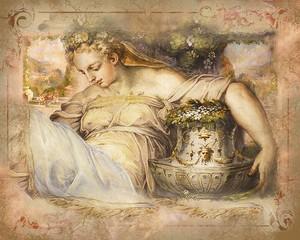 Старая фреска с красивой женщиной от Палаццо Веккьо во Флоренции