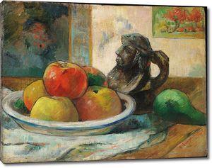 Поль Гоген. Натюрморт с яблоками, грушей и керамическим портретным кувшином