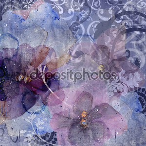 Background with delicate leaves and flowers