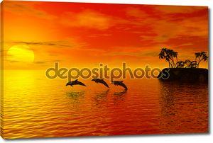 Дельфины силуэт
