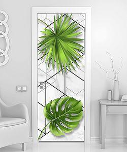 Пальмовые листы на геометрическом фоне