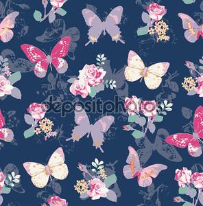 бесшовные Роза с бабочкой на фоне ВМС
