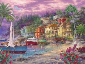 Живописный закатный городок на берегу
