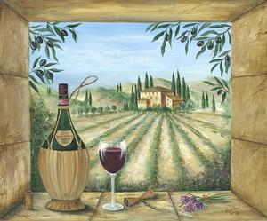 Вино на окне с видом на поле