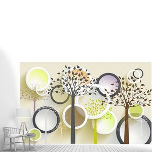 3D иллюстрации, бежевый фон, белый и темный серый кольца, цветные контуры деревьев
