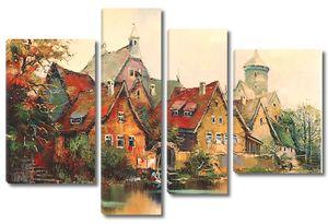 Живописный рисунок с домиками
