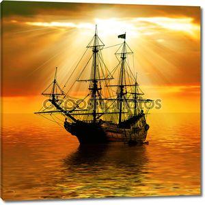 Корабль на фоне заката