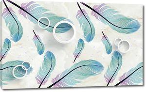 Белые кольца, фиолетово-голубые перья