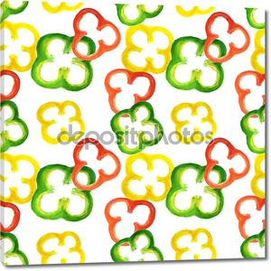 Seamless pattern with watercolor red, yellow and green pepper rings