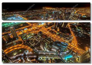 панорама центра города в Дубае ночью, ОАЭ