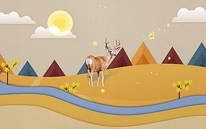 Олень на фоне абстрактных гор