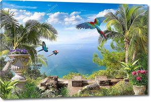 Тропический пейзаж с попугаями