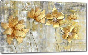 Гранжевый фон, большие золотые цветы на тонких стеблях