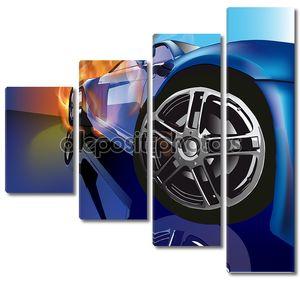 Легковой автомобиль яркого синего цветв
