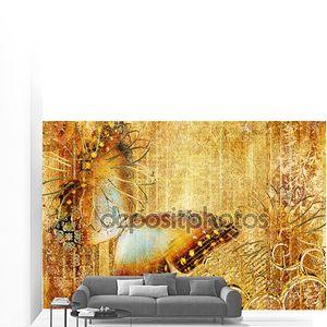 Работа в Золотые цвета с бабочкой