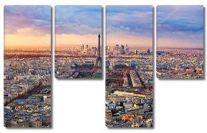 Париж на закате с высоты