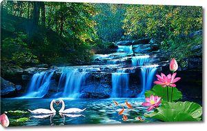 Лотос и лебеди на фоне водопада